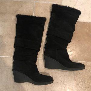 Aquatalia weatherproof black suede boots sz 40